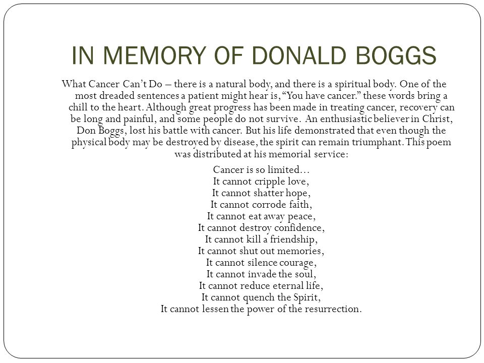 IN MEMORY OF DONALD BOGGS
