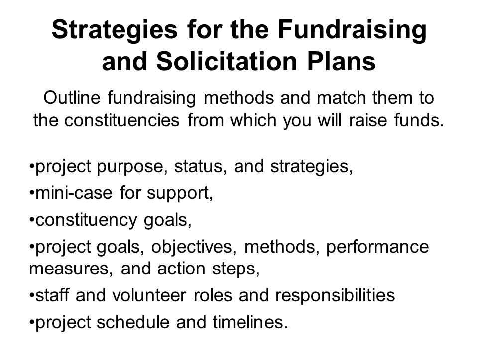 Strategies for the Fundraising and Solicitation Plans