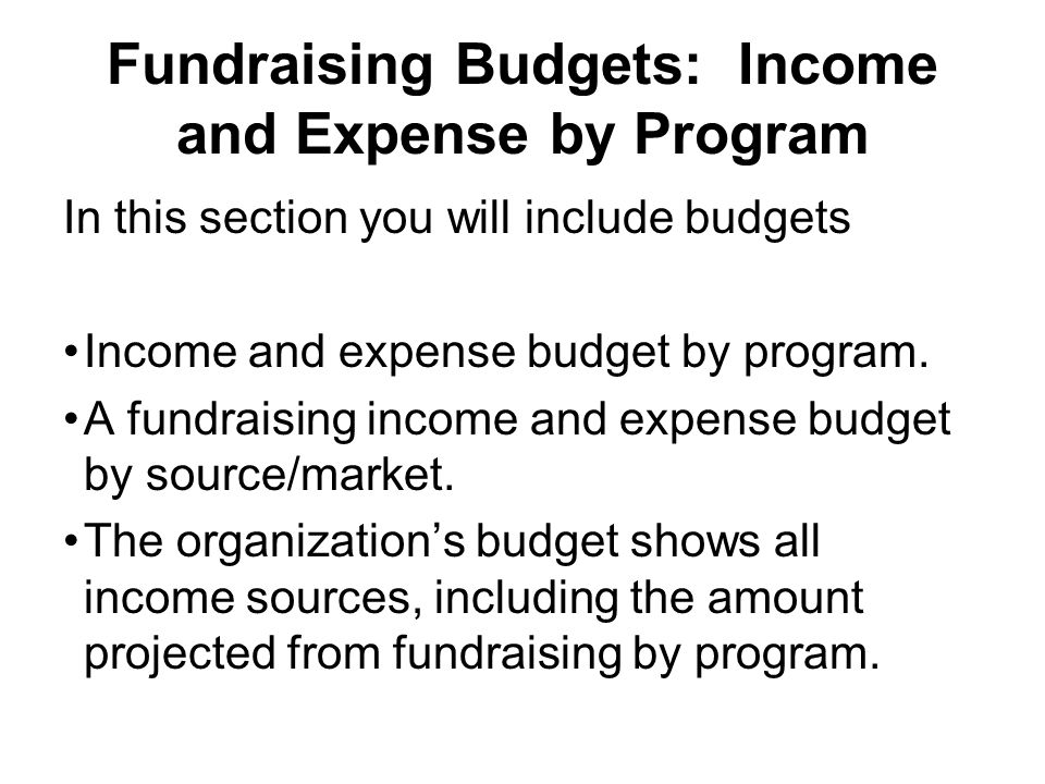 Fundraising Budgets: Income and Expense by Program