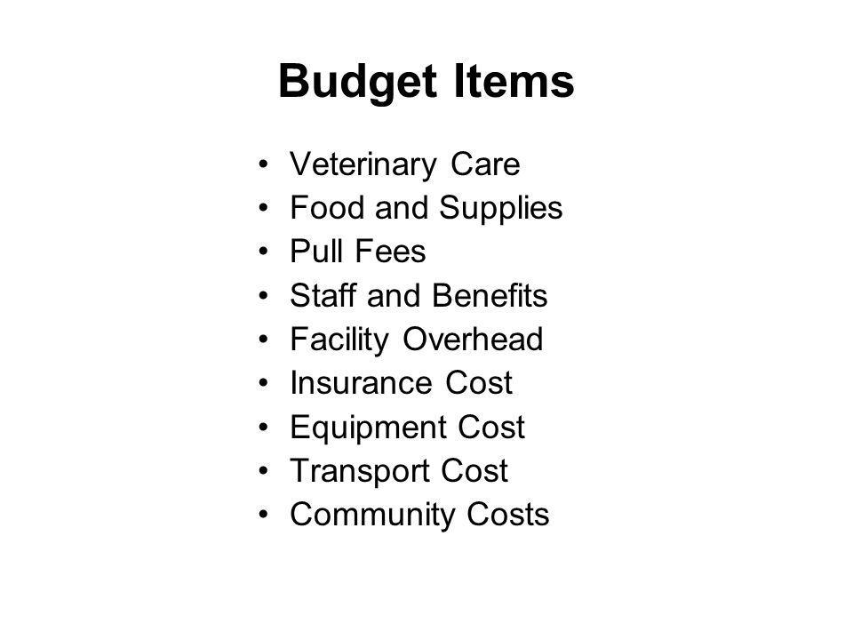 Budget Items Veterinary Care Food and Supplies Pull Fees