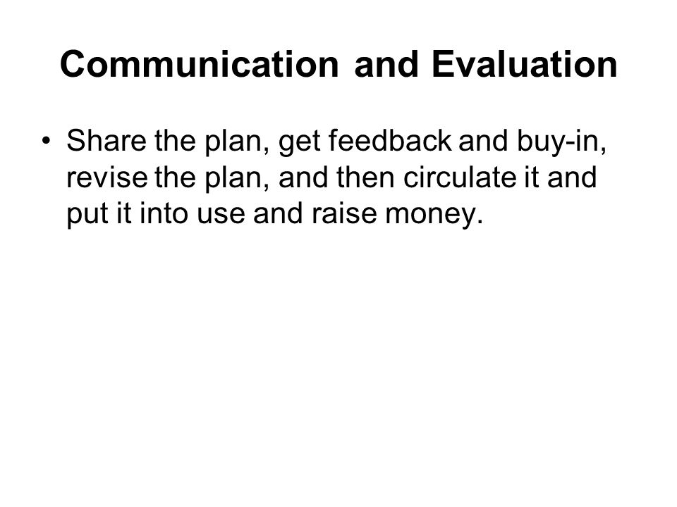 Communication and Evaluation