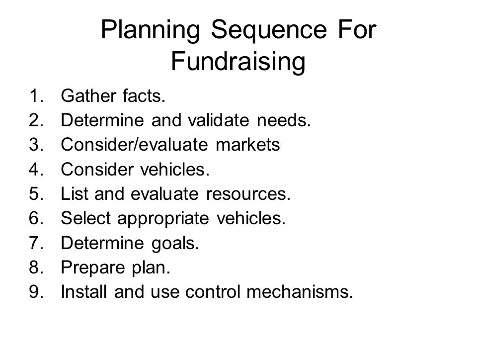 Planning Sequence For Fundraising