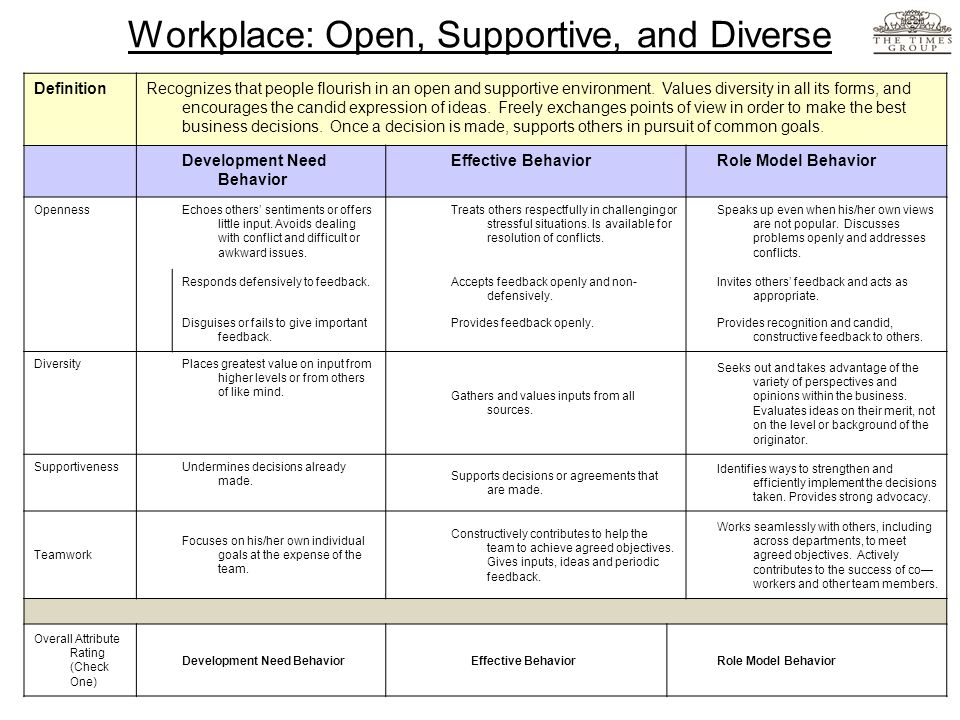 Workplace: Open, Supportive, and Diverse