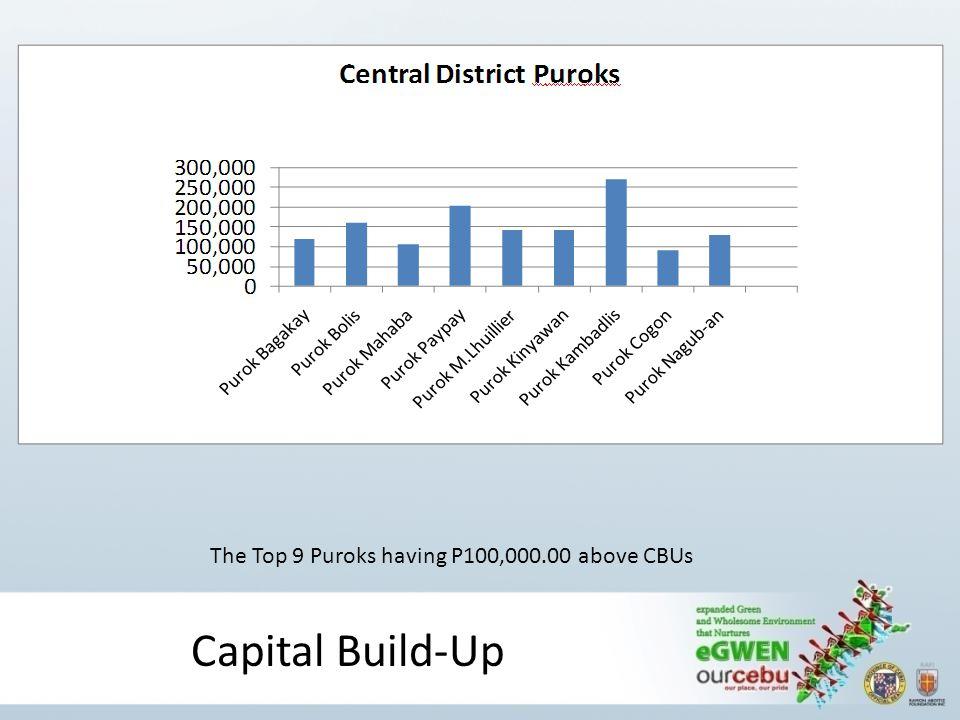 Capital Build-Up The Top 9 Puroks having P100,000.00 above CBUs