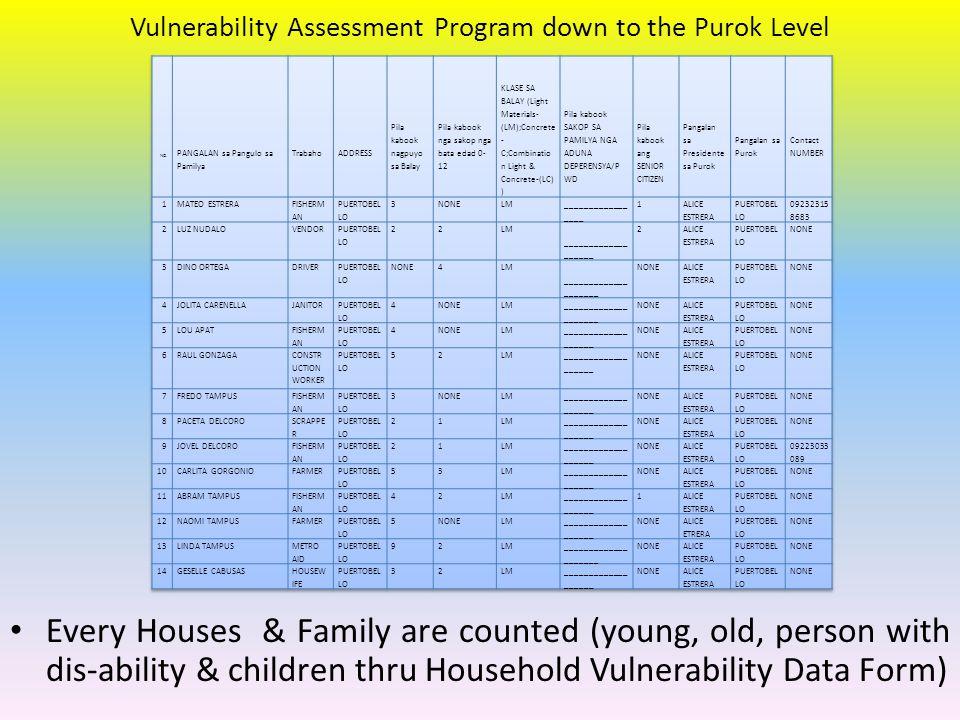 Vulnerability Assessment Program down to the Purok Level