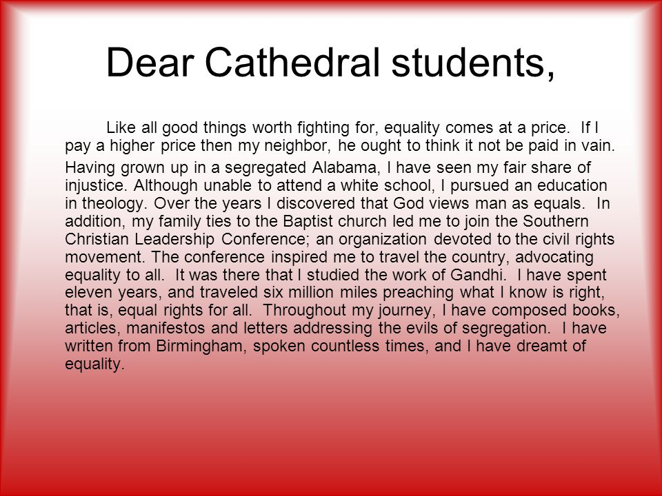 Dear Cathedral students,