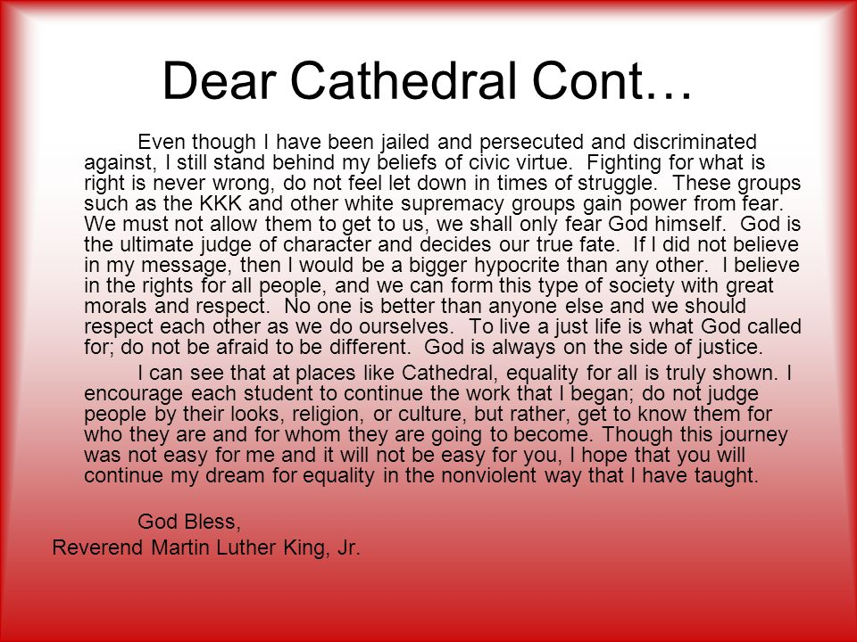 Dear Cathedral Cont…