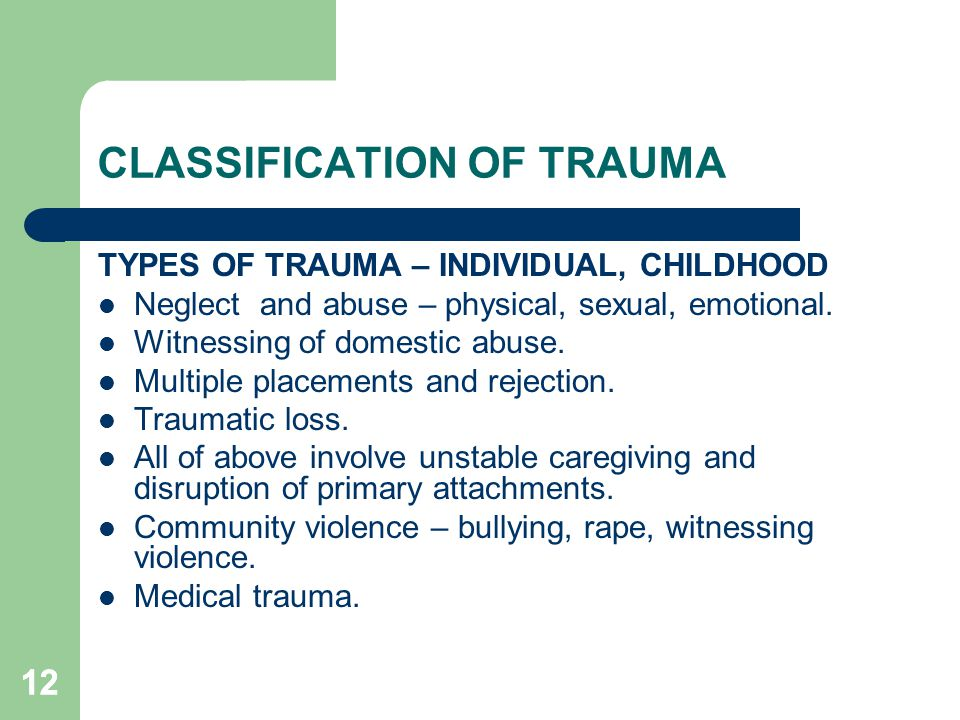 CLASSIFICATION OF TRAUMA