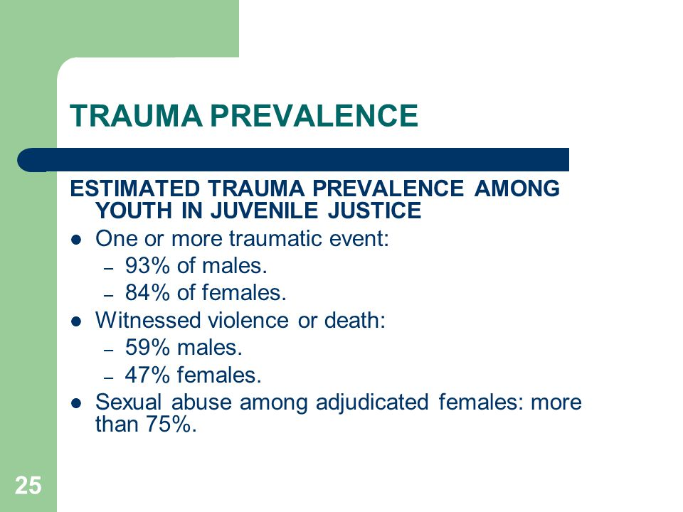 TRAUMA PREVALENCE ESTIMATED TRAUMA PREVALENCE AMONG YOUTH IN JUVENILE JUSTICE. One or more traumatic event: