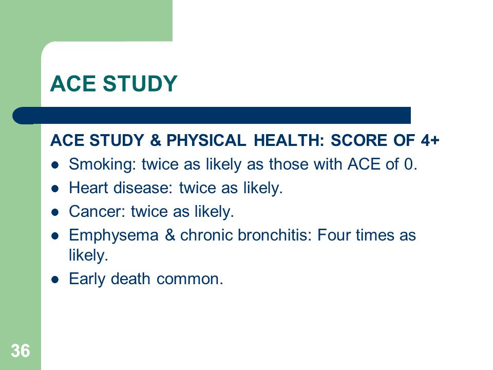 ACE STUDY 36 ACE STUDY & PHYSICAL HEALTH: SCORE OF 4+