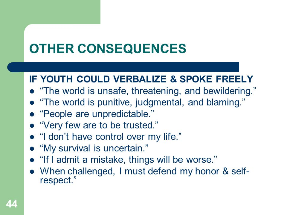 OTHER CONSEQUENCES IF YOUTH COULD VERBALIZE & SPOKE FREELY