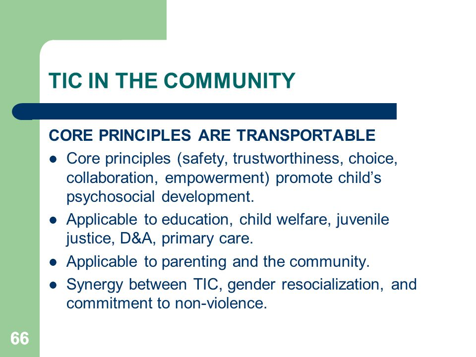 TIC IN THE COMMUNITY 66 CORE PRINCIPLES ARE TRANSPORTABLE