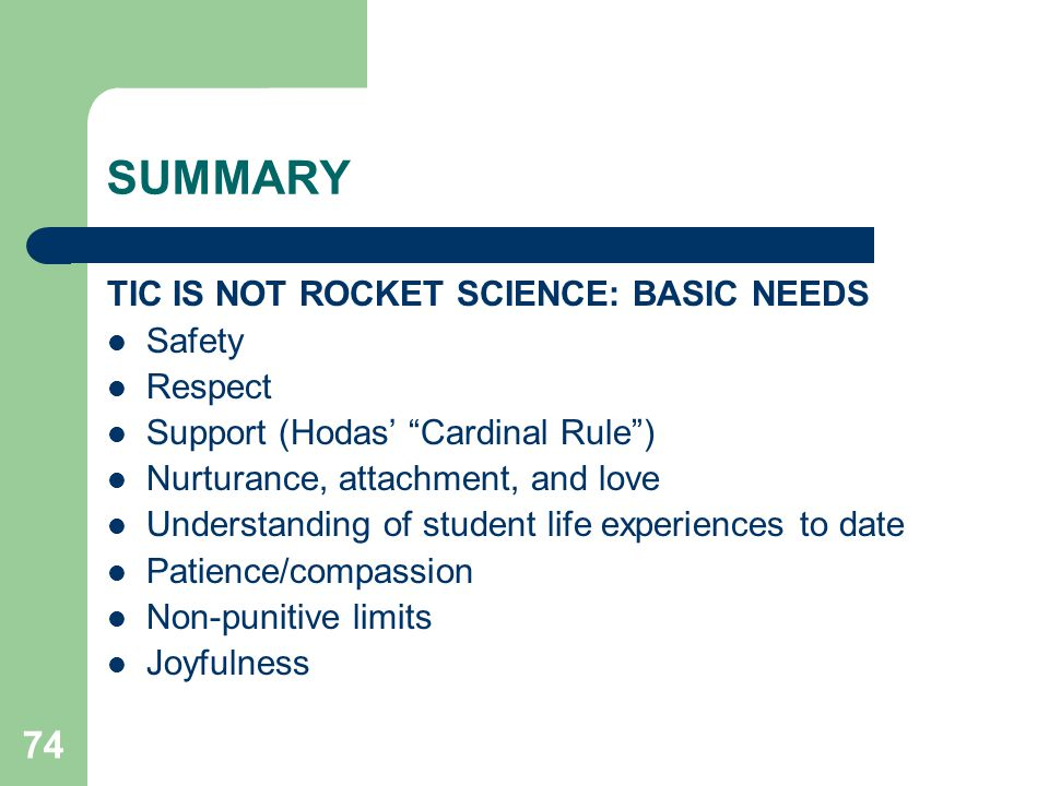 SUMMARY TIC IS NOT ROCKET SCIENCE: BASIC NEEDS Safety Respect