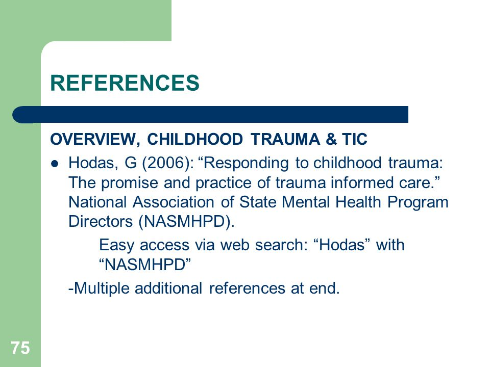 REFERENCES OVERVIEW, CHILDHOOD TRAUMA & TIC