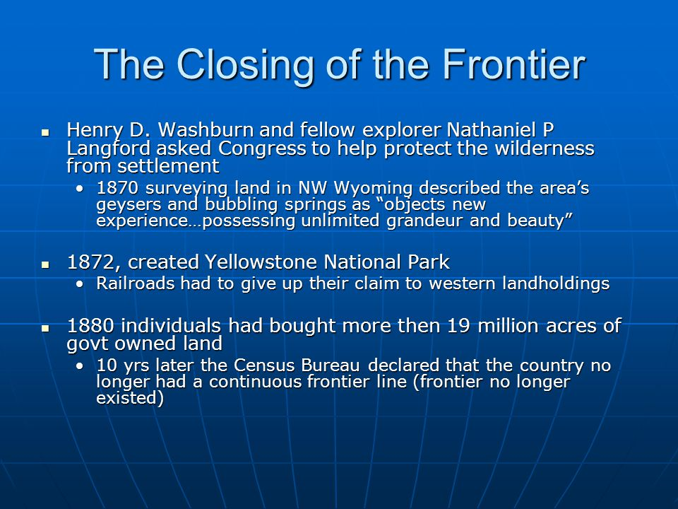 The Closing of the Frontier