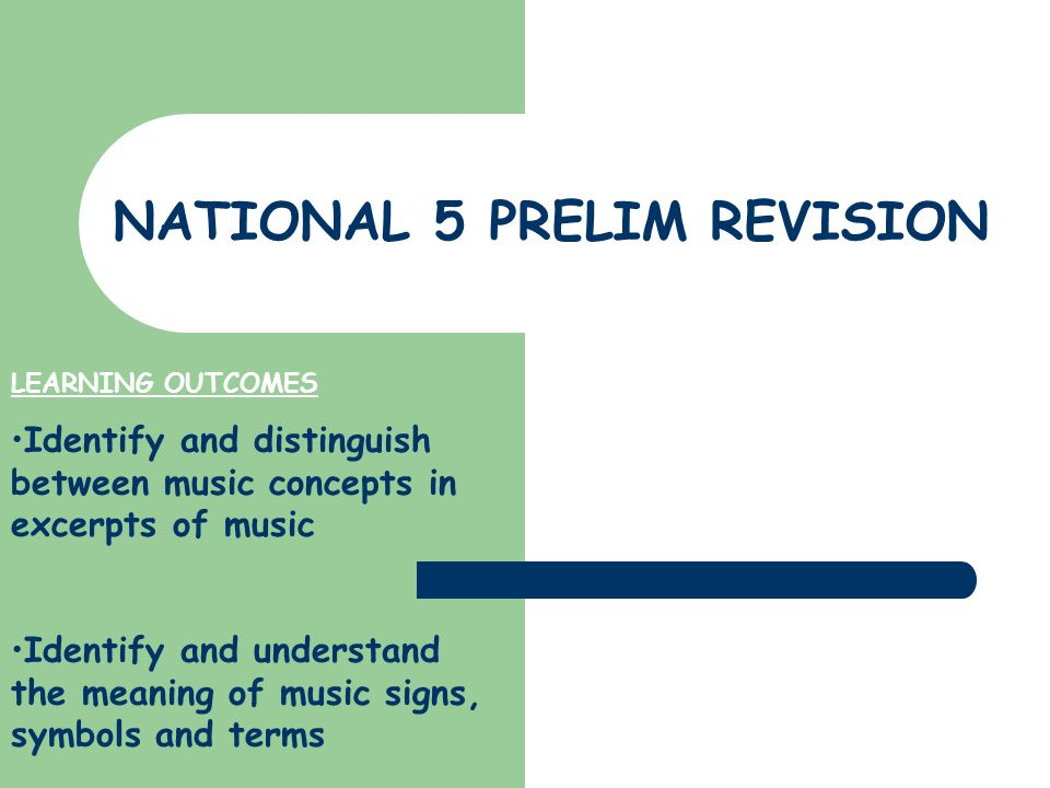 NATIONAL 5 PRELIM REVISION