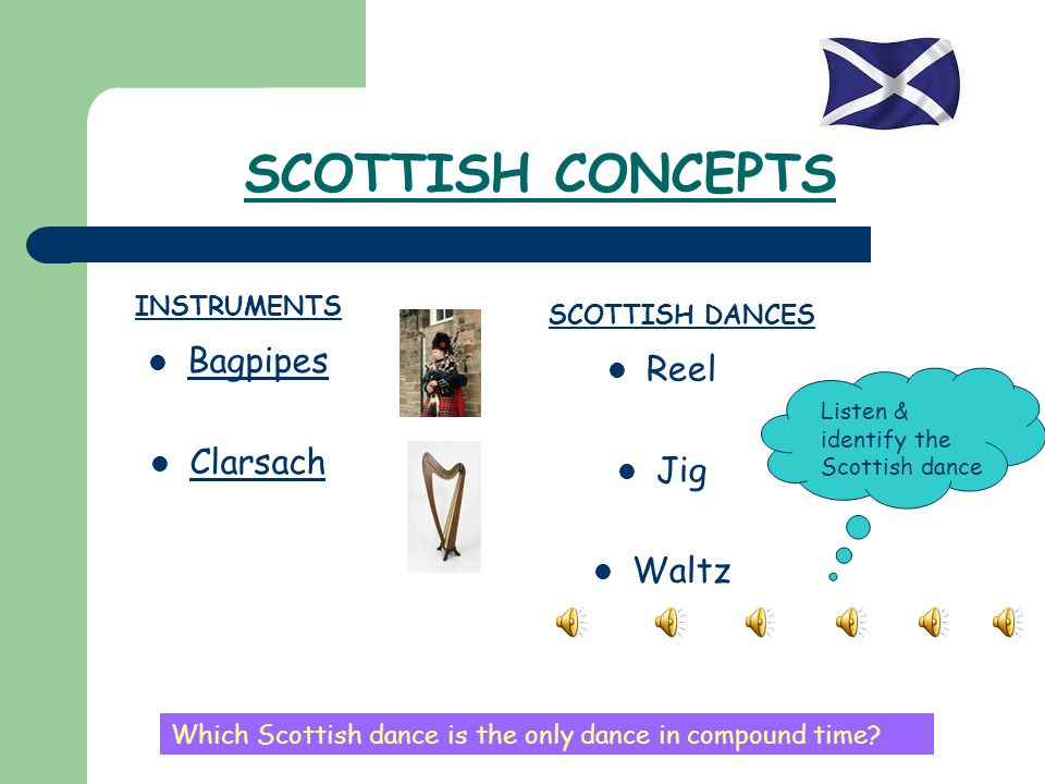 SCOTTISH CONCEPTS Bagpipes Reel Clarsach Jig Waltz INSTRUMENTS
