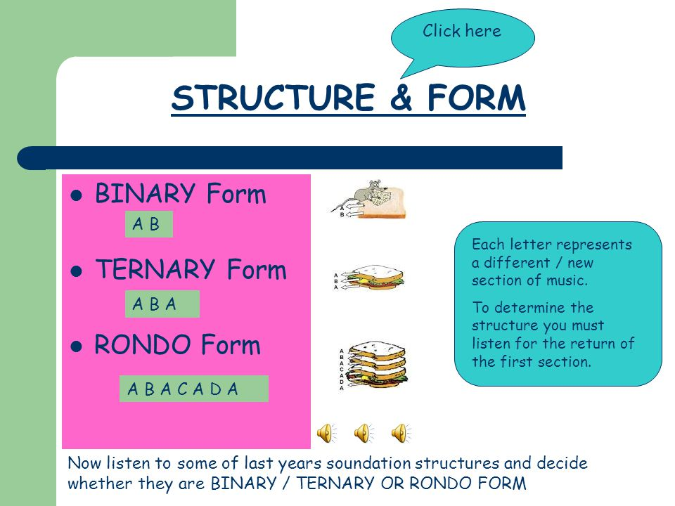 STRUCTURE & FORM BINARY Form TERNARY Form RONDO Form Click here A B
