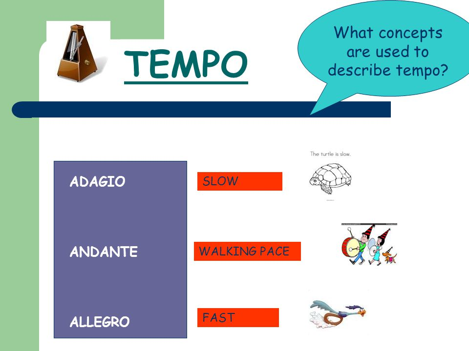 What concepts are used to describe tempo
