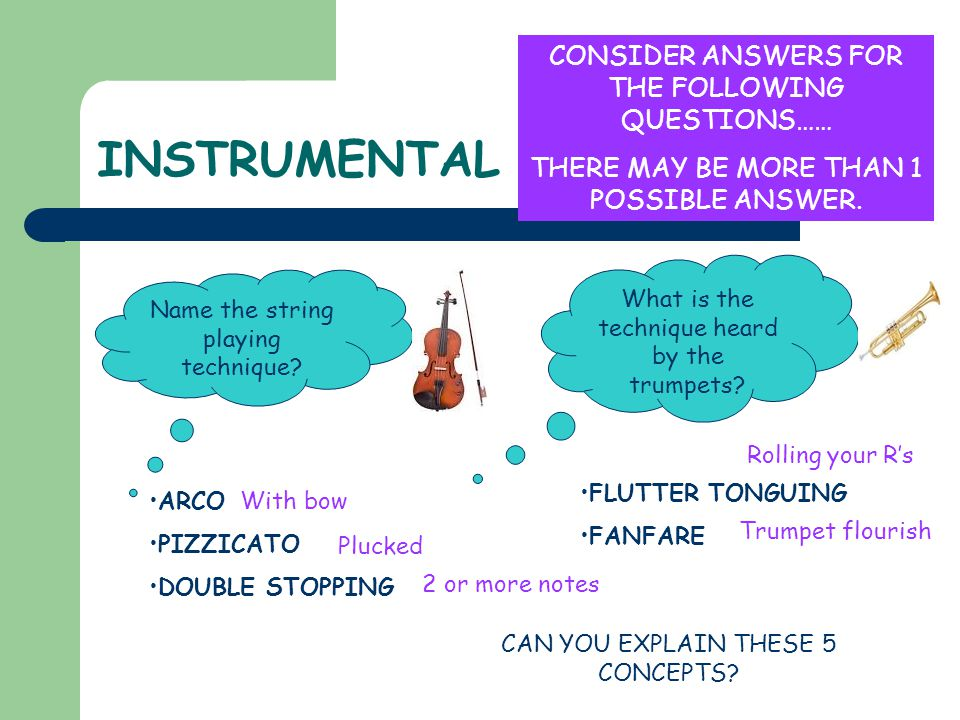 INSTRUMENTAL CONSIDER ANSWERS FOR THE FOLLOWING QUESTIONS……