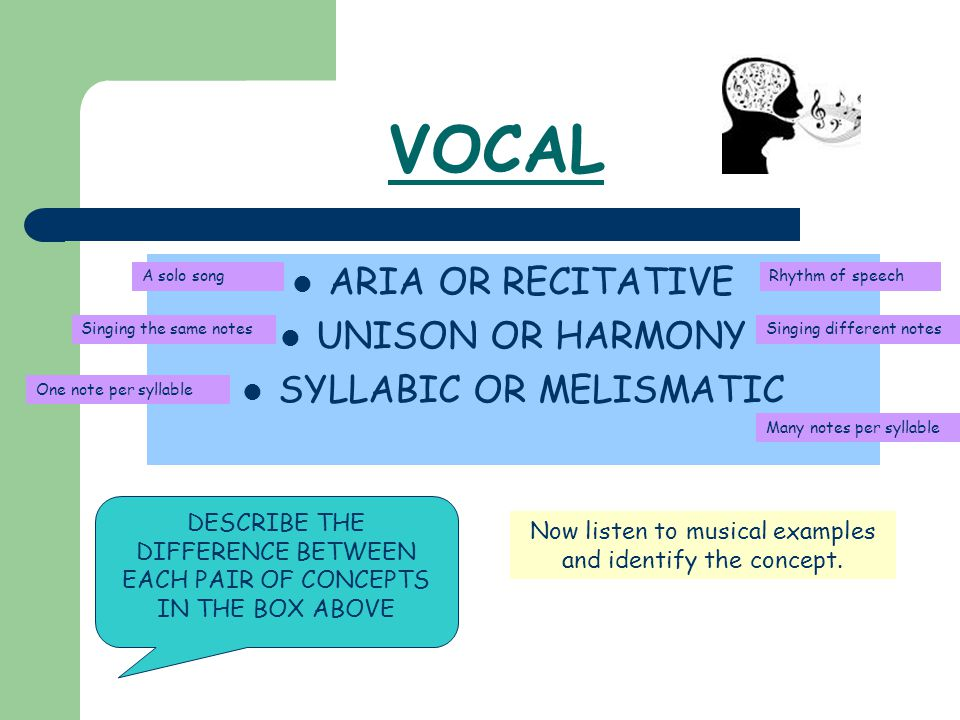 VOCAL ARIA OR RECITATIVE UNISON OR HARMONY SYLLABIC OR MELISMATIC