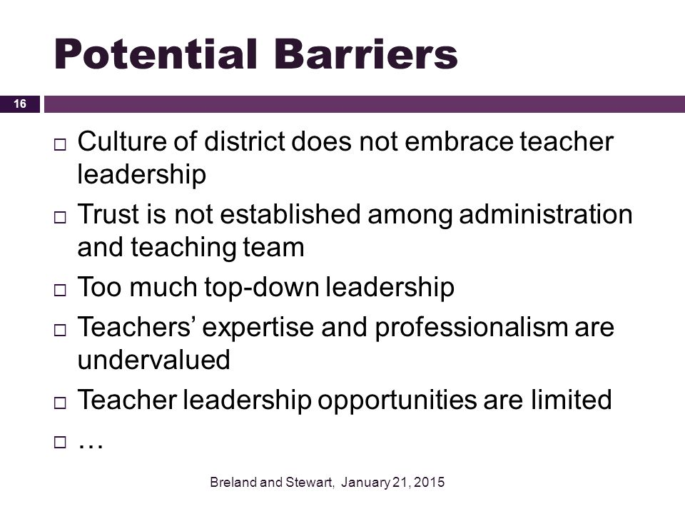 Potential Barriers Culture of district does not embrace teacher leadership. Trust is not established among administration and teaching team.
