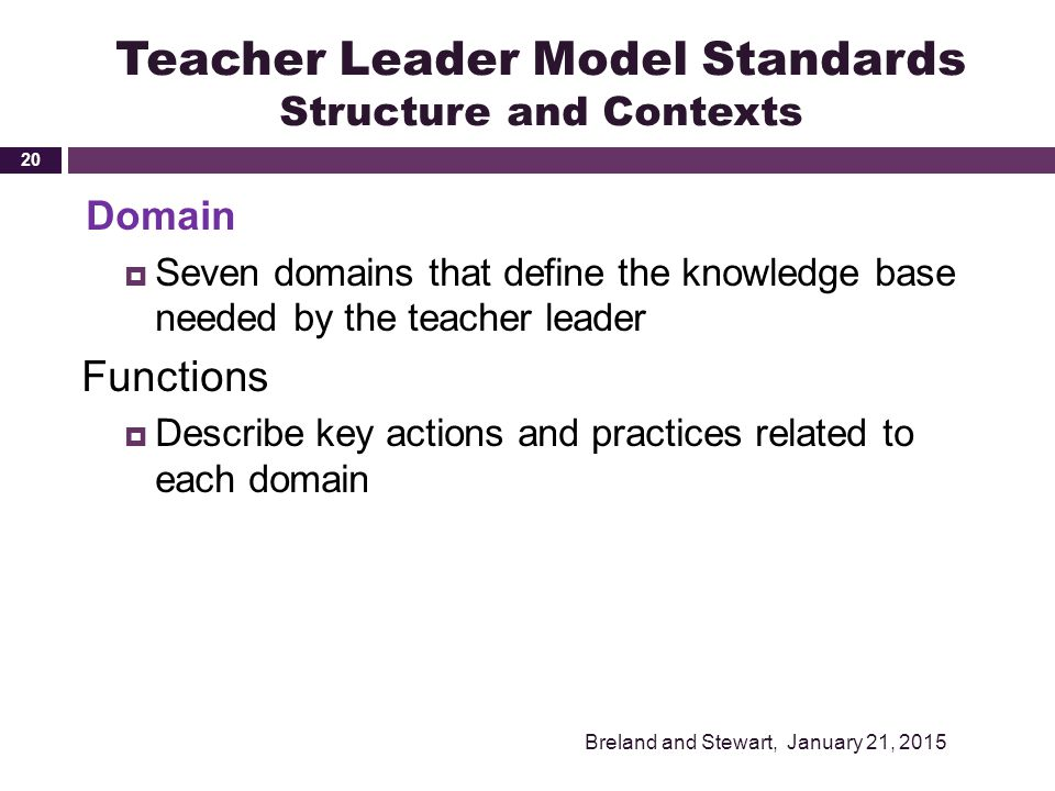 Teacher Leader Model Standards Structure and Contexts