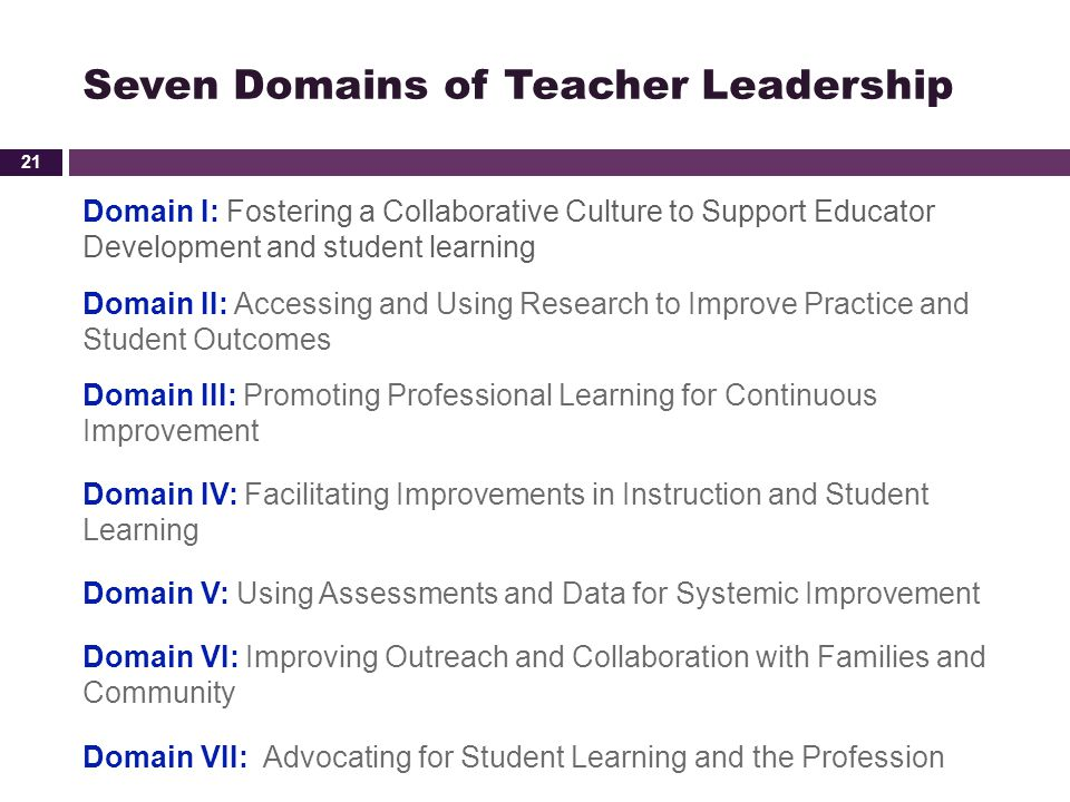 Seven Domains of Teacher Leadership