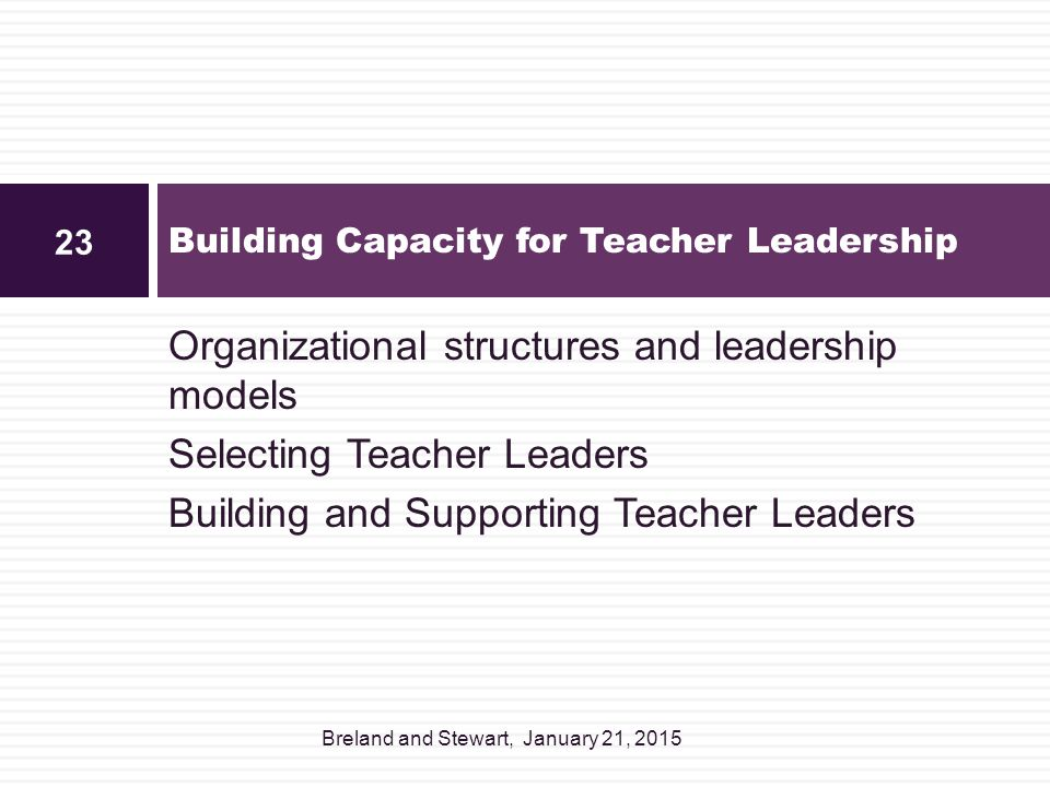 Building Capacity for Teacher Leadership