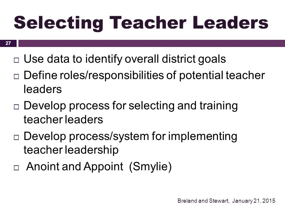 Selecting Teacher Leaders