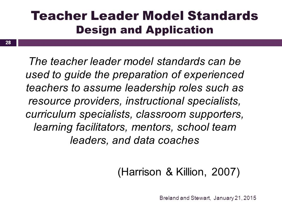 Teacher Leader Model Standards Design and Application