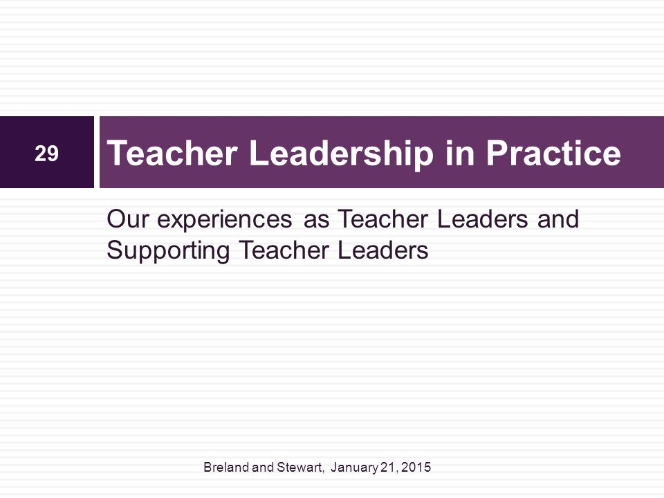 Teacher Leadership in Practice