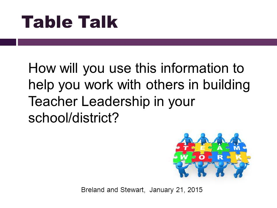 Table Talk How will you use this information to help you work with others in building Teacher Leadership in your school/district