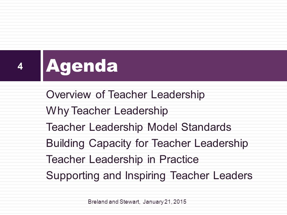 Agenda Overview of Teacher Leadership Why Teacher Leadership