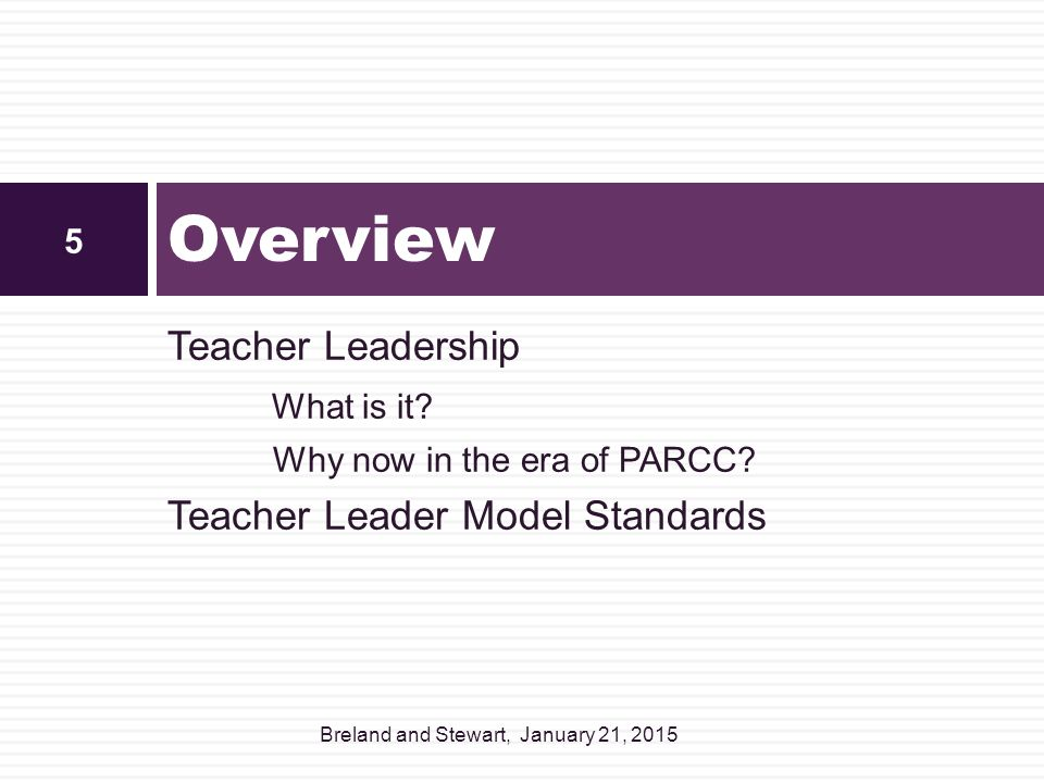 Overview Teacher Leadership What is it Teacher Leader Model Standards