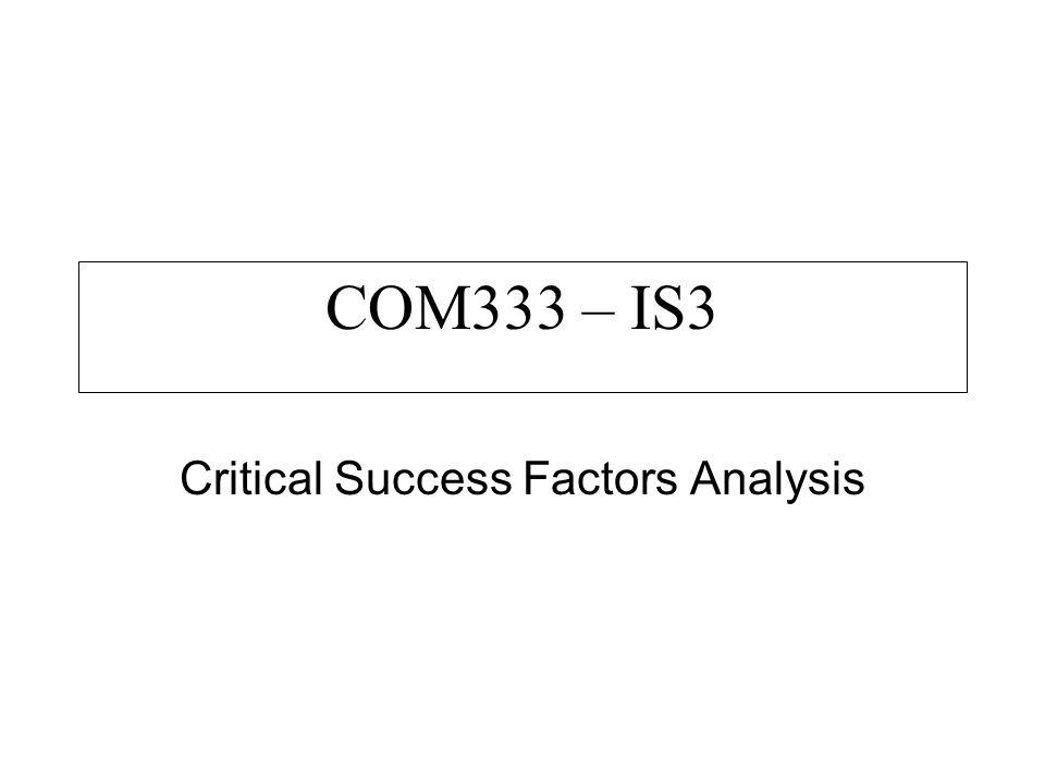 Critical Success Factors Analysis