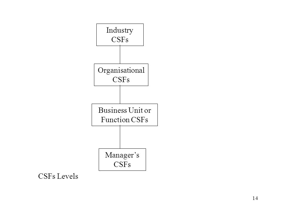 Business Unit or Function CSFs