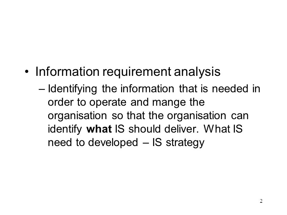 Information requirement analysis