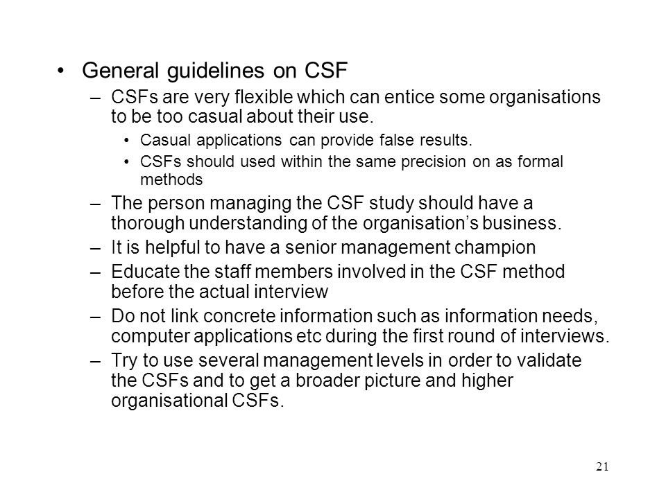 General guidelines on CSF