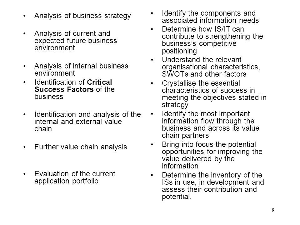 Identify the components and associated information needs