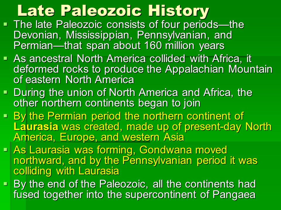 Late Paleozoic History