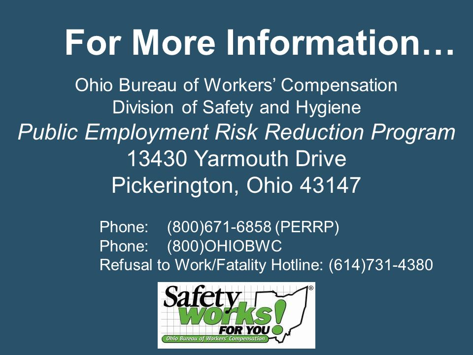 For More Information… Public Employment Risk Reduction Program