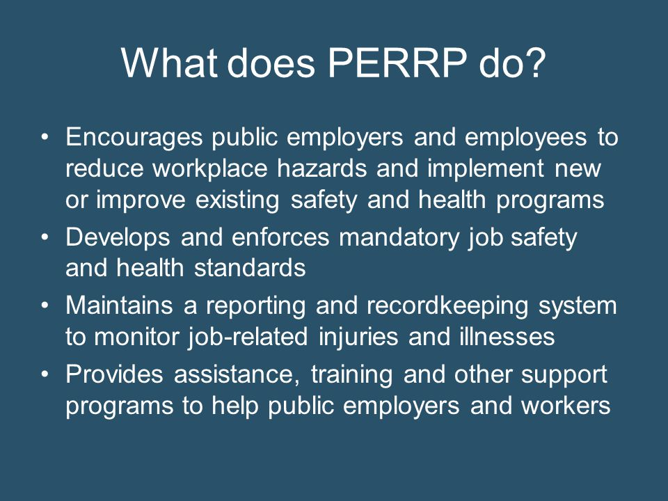 What does PERRP do