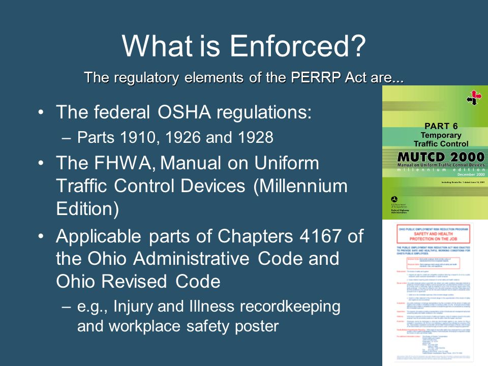 The regulatory elements of the PERRP Act are...