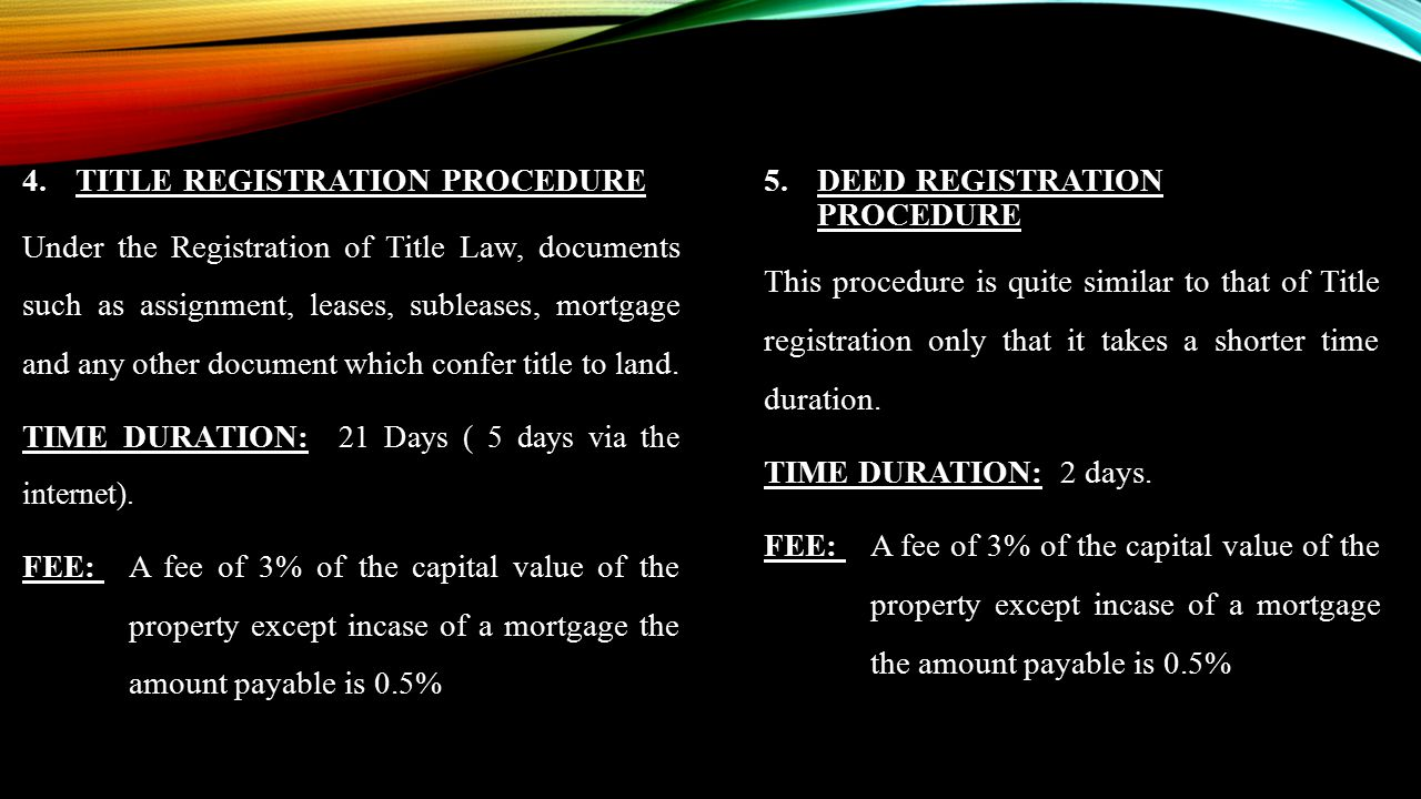 TITLE REGISTRATION PROCEDURE
