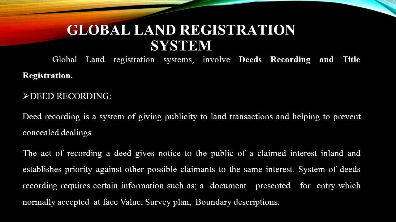 GLOBAL LAND REGISTRATION SYSTEM