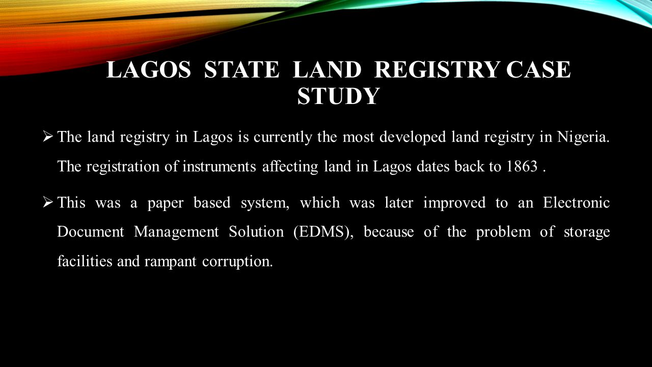 Lagos State Land Registry Case Study