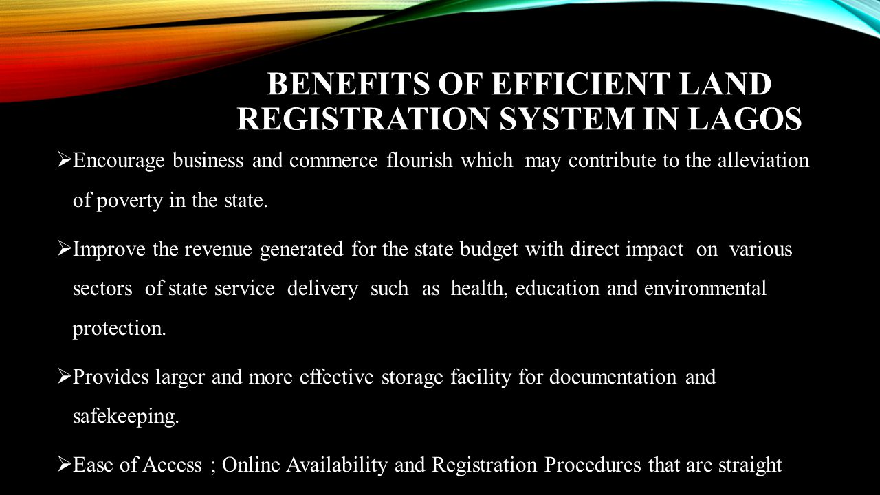 Benefits of Efficient Land Registration System in Lagos