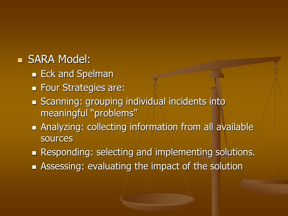 SARA Model: Eck and Spelman Four Strategies are: