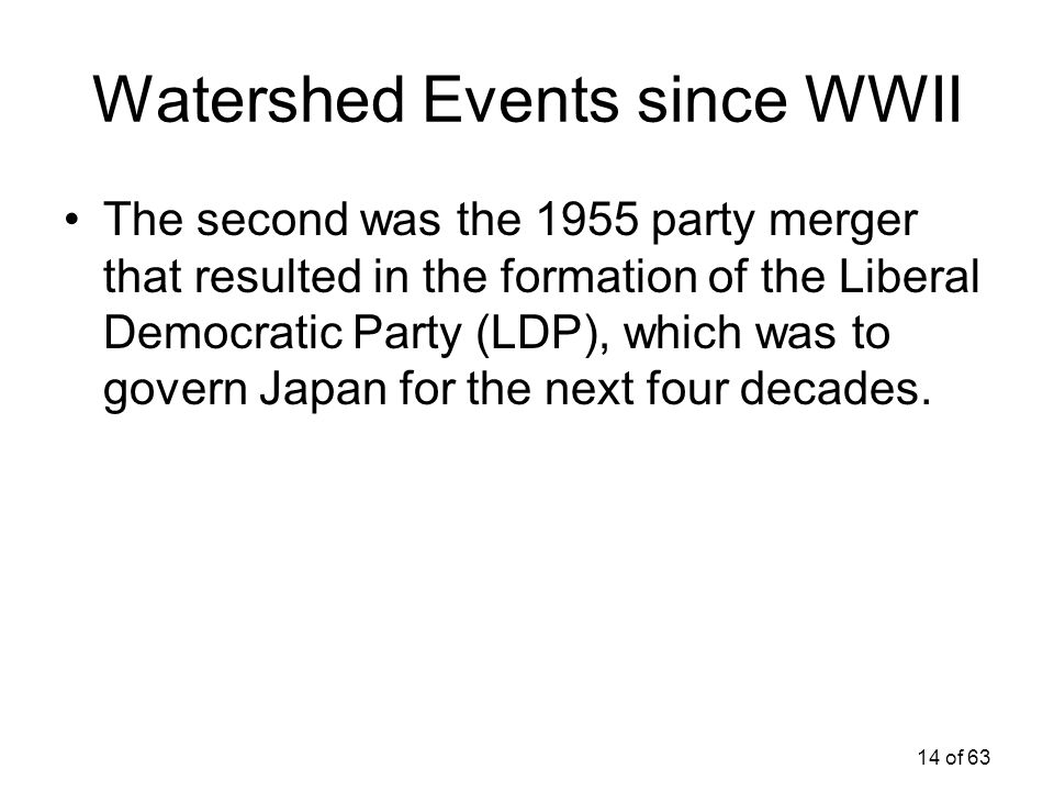 Watershed Events since WWII